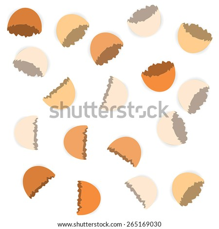 Scattered cracked egg shells on the white background - stock vector