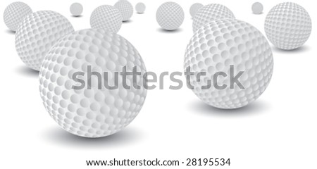 scattered golf balls - stock vector