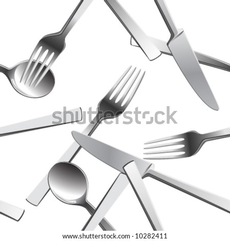 Scattered silverware.Seamless vector in any direction. - stock vector