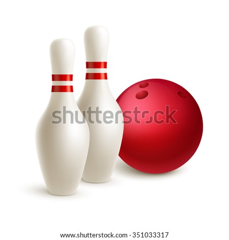 Scattered skittle and bowling ball. Vector illustration EPS10