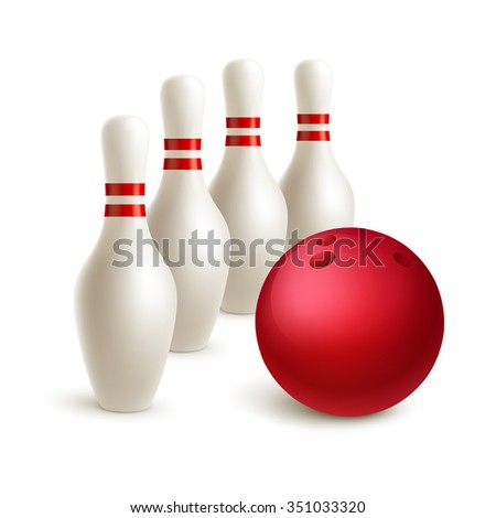 Scattered skittle and bowling ball. Vector illustration EPS10 - stock vector