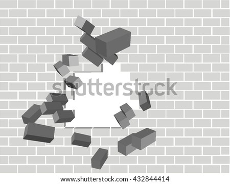 Scattering broken brick wall grey black and white for text background