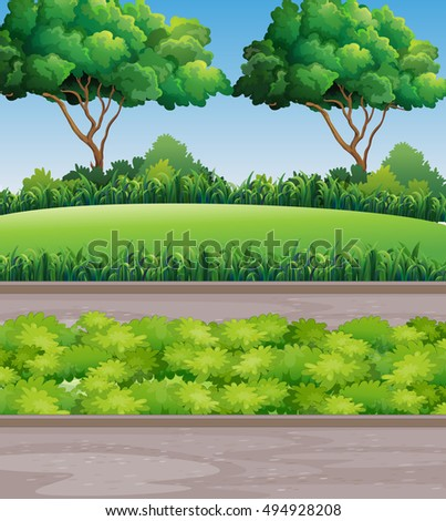 Scene at park with lawn and trees illustration