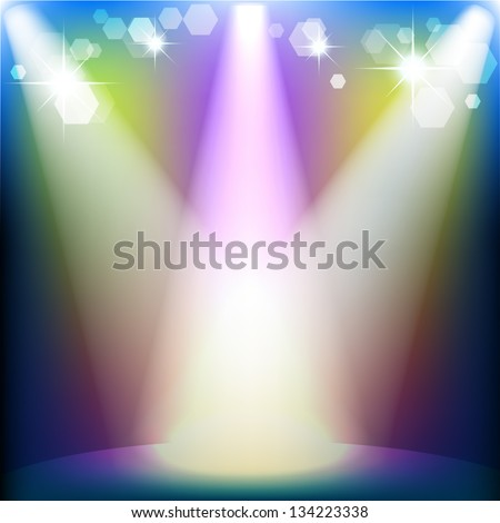 Scene illuminated by a spotlight - stock vector