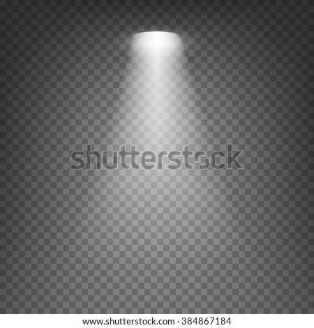 Scene illumination cold white light effect on transparent background. Vector illustration. - stock vector