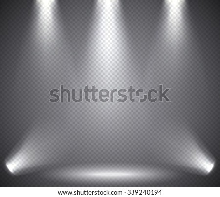 Scene illumination from above and below, transparent effects on a plaid dark  background. Bright lighting with spotlights. - stock vector