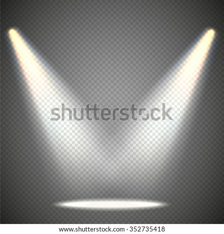 Scene illumination from above, transparent effects on a plaid dark  background. Bright lighting with spotlights. - stock vector