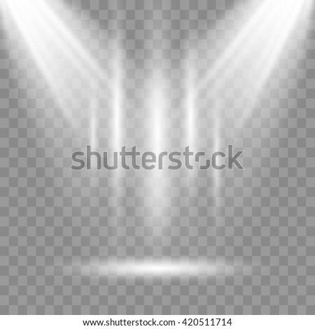 Scene illumination, transparent effects on a plaid dark background. Bright lighting with spotlights - stock vector
