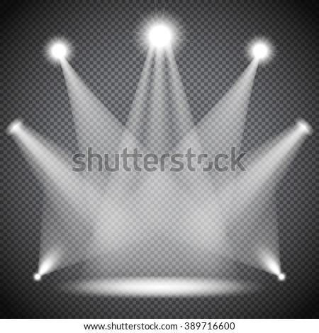 Scene illumination, transparent effects on dark  background. Bright lighting with spotlights, floodlights, projectors. - stock vector