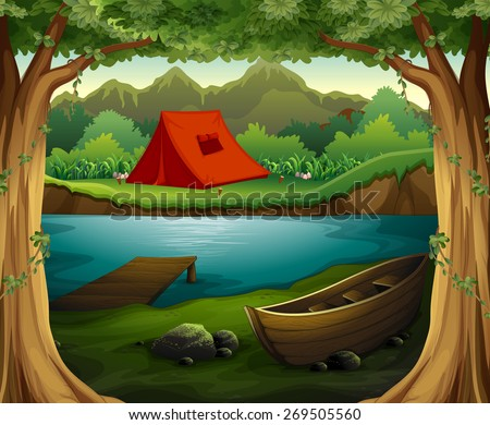 cartoon camping tent stock images royaltyfree images