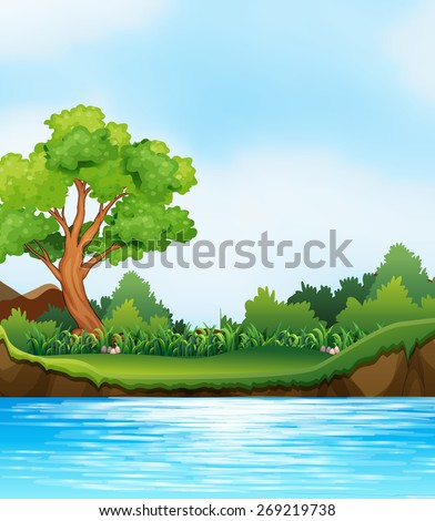 Scene of river and river bank - stock vector