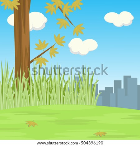 Scene Of Tree On The Hill With City Shades Background