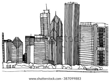 Hand Drawn Ink Line Sketch Chicago City Skyline With Buildings Roofs