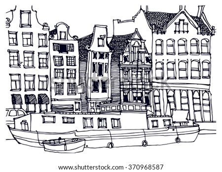 Scene street illustration. Hand drawn ink line sketch European old town Amsterdam , historical architecture with buildings, roofs, canal. Ink drawing of cityscape, perspective view. Travel postcard.