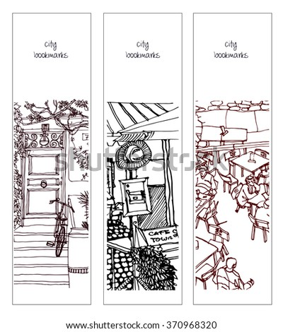 Scene street illustration. Hand drawn ink line sketch European old town, cafe, door, exterior, interior and bicycle  in outline style. Ink drawing of perspective view. Bookmarks. - stock vector