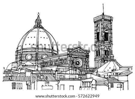 Hand Drawn Ink Line Sketch European Old Town Florence Historical Architecture