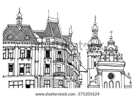 Hand Drawn Ink Line Sketch European Old Town Historical Architecture With