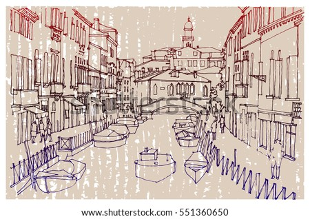 Hand Drawn Ink Line Sketch European Old Town Venice Historical Architecture