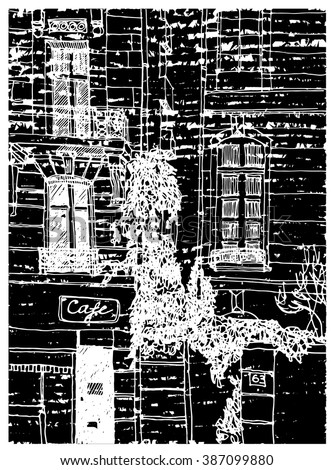 Scene street illustration. Hand drawn ink line sketch European old town, windows, door,stones, exterior in outline style. Ink drawing of perspective view. Travel postcard. - stock vector
