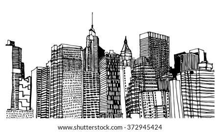 Scene street illustration. Hand drawn ink line sketch New York city, Manhattan  with buildings, roofs, cityscape  in outline style perspective view. Postcards design.  - stock vector