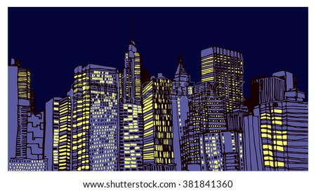 Scene street illustration. Hand drawn ink line sketch New York city, Manhattan  with buildings, roofs, cityscape  in outline style perspective view. Postcards design.