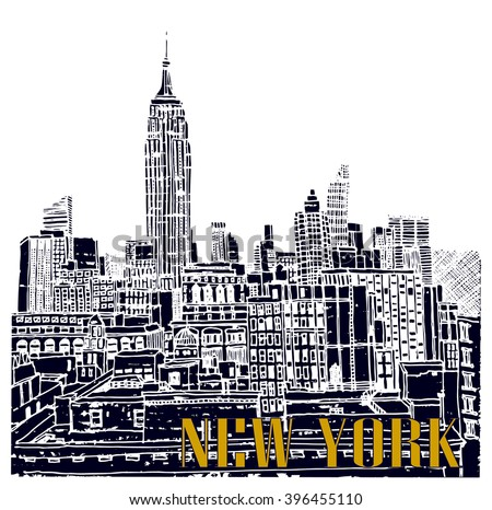 Scene street illustration. Hand drawn ink line sketch New York city, Manhattan  with buildings,Empire State building,cityscape  in outline style perspective view. Postcards design.