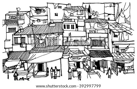 Scene Street Illustration Hand Drawn Ink Stock Vector