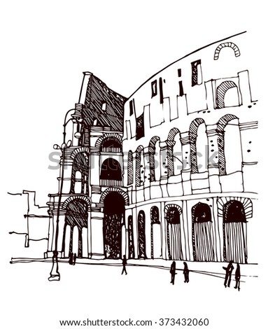 Hand Drawn Ink Sketch European Old Town Rome Colosseum Historical Architecture