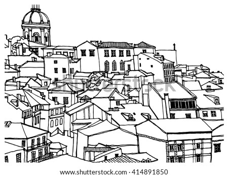 Scene street illustration. Hand drawn line sketch European old town Lisbon, Portugal, historical architecture  with buildings, roofs in outline style. Ink drawing, perspective view. Travel postcard.