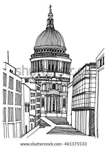 Hand Drawn Line Sketch European Old Town London Historical Architecture Of