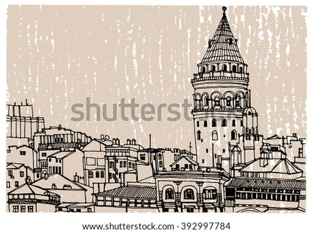 Scene street, panorama illustration. Hand drawn ink line sketch of European city, Galata tower, Istanbul , Turkey. Postcards design in outline style, perspective view.