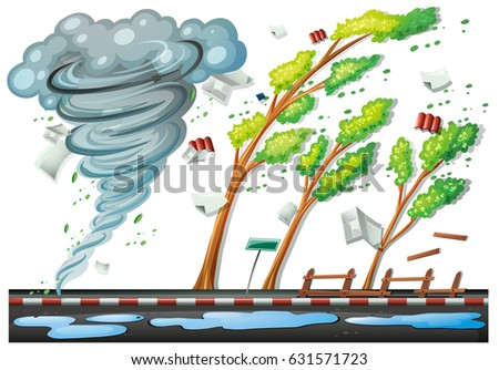 scene big storm on road illustration stock vector 631571723 rh shutterstock com storm clipart images stormtrooper clipart