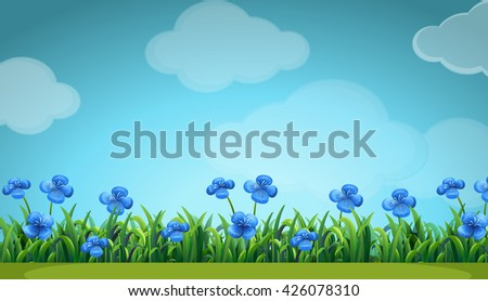 Scene with blue flowers in garden illustration