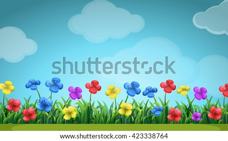 Scene with colorful flowers in the field illustration