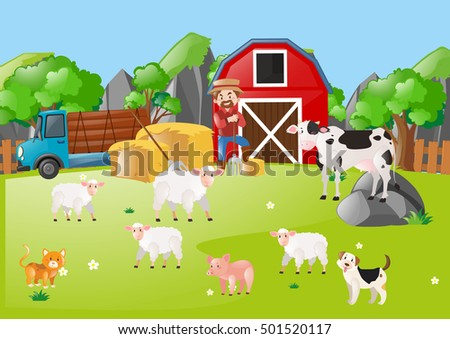 Scene with farmer and animals in the field illustration