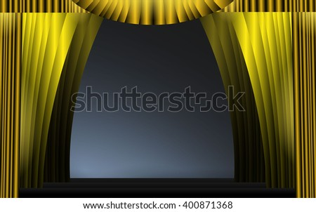 Scene with gold background and lights. Vector illustration