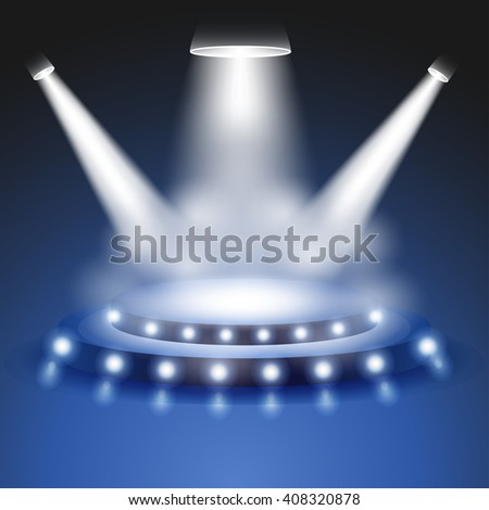 Scene with realistic Light and smoke effect, Stage or podium spotlight, Show scene spotlight, shine spotlight on transparent background, stage lighting spotlights, scene illumination, vector - stock vector