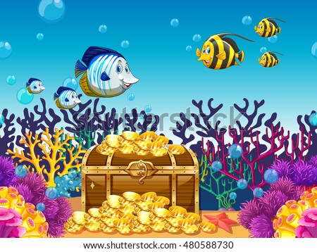 Scene with treassure and fish underwater illustration