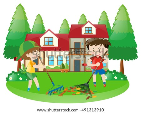 Scene with two boys raking dried leaves illustration