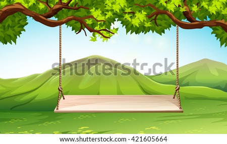 Scene with wooden swing in the park illustration