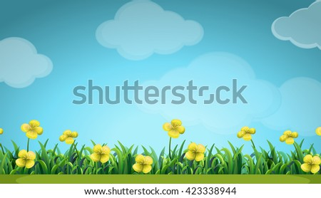 Scene with yellow flowers in the field illustration