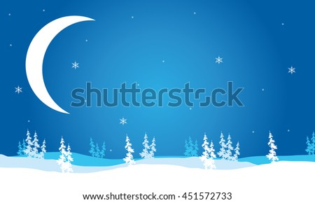 Scenery Christmas Crescent moon backgrounds vector illustration