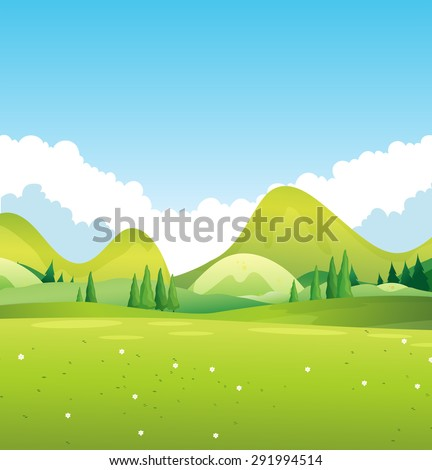 Scenery of green nature illustration - stock vector