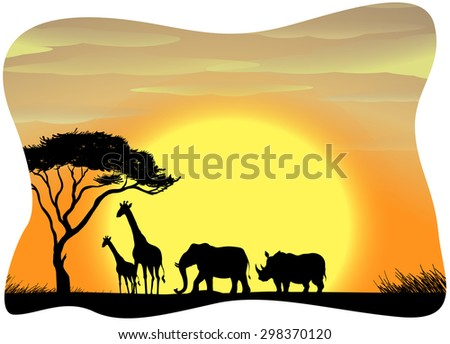 Scenery of wild animals in Africa during the sunset - stock vector