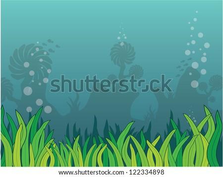 scenery seaweed - stock vector