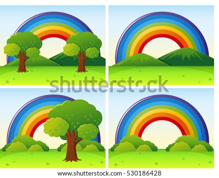 Scenes with rainbow and field illustration