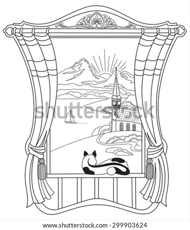 Scenic Alpine views from the window. - stock vector
