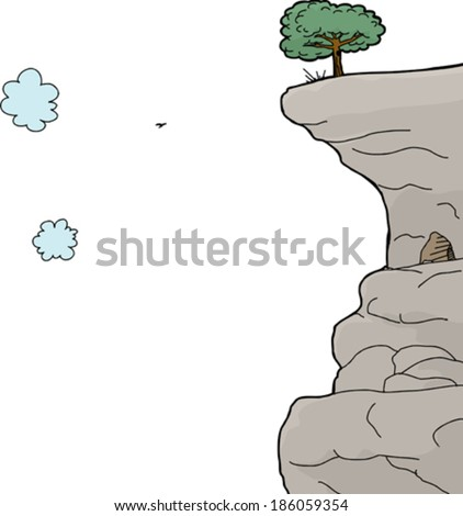Scenic cliff on mountain over isolated white background - stock vector