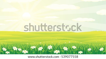 Scenic Summer Day Landscape. Vector Illustration