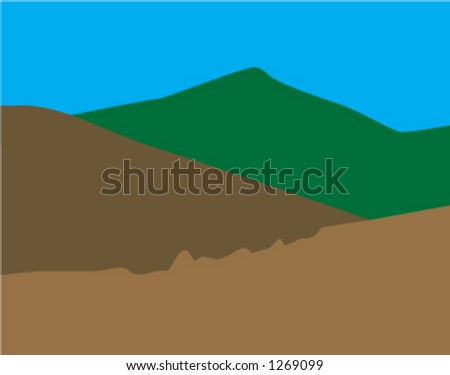 Scenic Vector Mountains Easily change the colors and shape to fit your project.